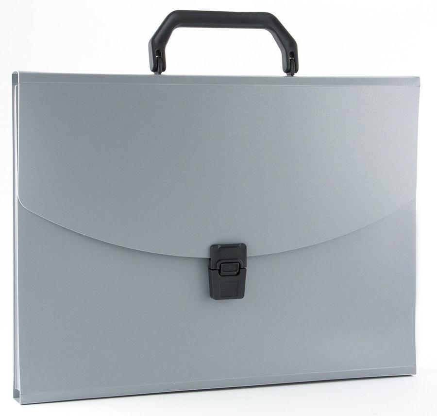 Портфель Бюрократ -BPP6GREY 6 отдел. A4 пластик 0.7мм серый