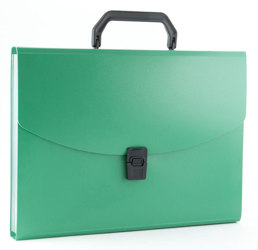 Портфель Бюрократ -BPP6GRN 6 отдел. A4 пластик 0.7мм зеленый