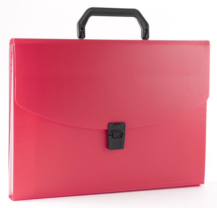 Портфель Бюрократ -BPP6RED 6 отдел. A4 пластик 0.7мм красный