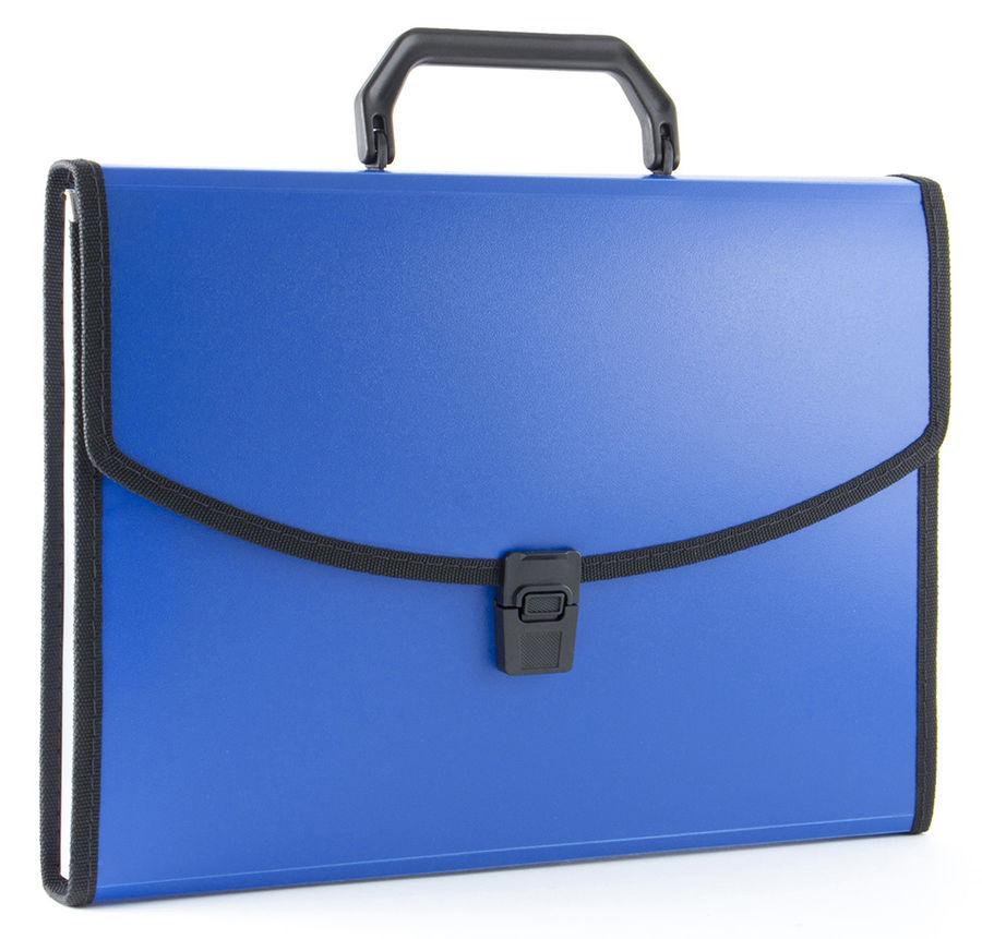 Портфель Бюрократ -BPP6LBLUE 6 отдел. A4 с окантовкой пластик 0.7мм синий