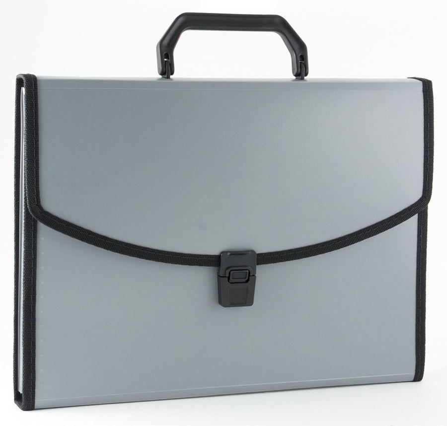 Портфель Бюрократ -BPP6LGREY 6 отдел. A4 с окантовкой пластик 0.7мм серый