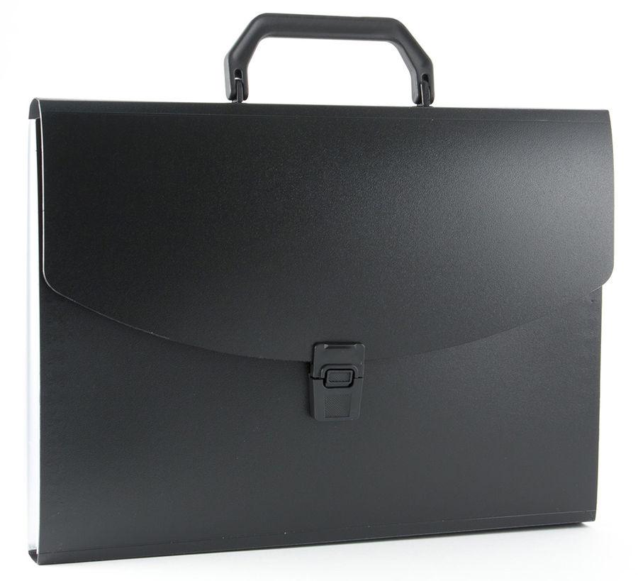 Портфель Бюрократ -BPP13BLCK 13 отдел. A4 пластик 0.7мм черный