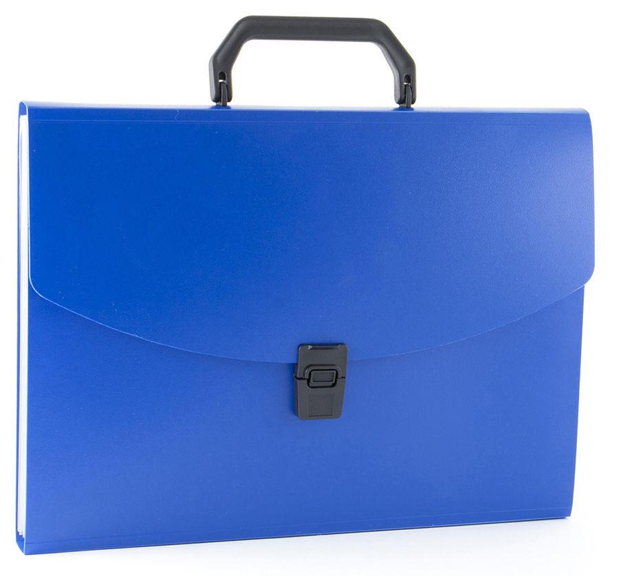 Портфель Бюрократ -BPP13BLUE 13 отдел. A4 пластик 0.7мм синий