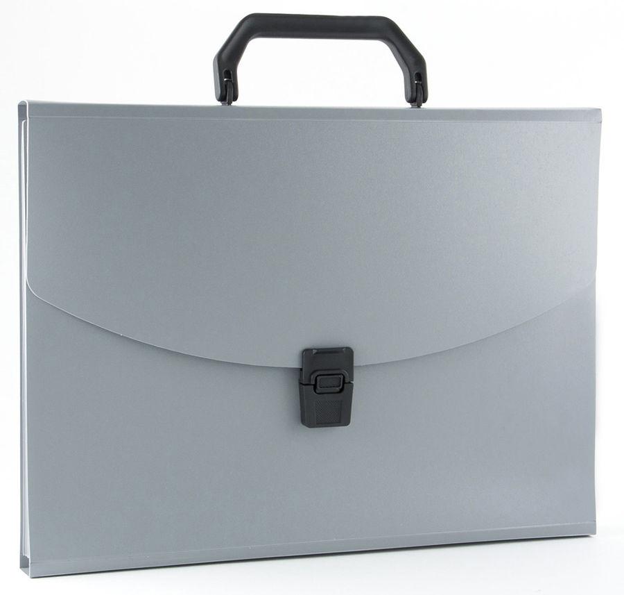 Портфель Бюрократ -BPP13GREY 13 отдел. A4 пластик 0.7мм серый