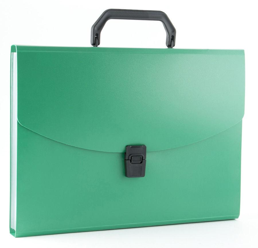 Портфель Бюрократ -BPP13GRN 13 отдел. A4 пластик 0.7мм зеленый