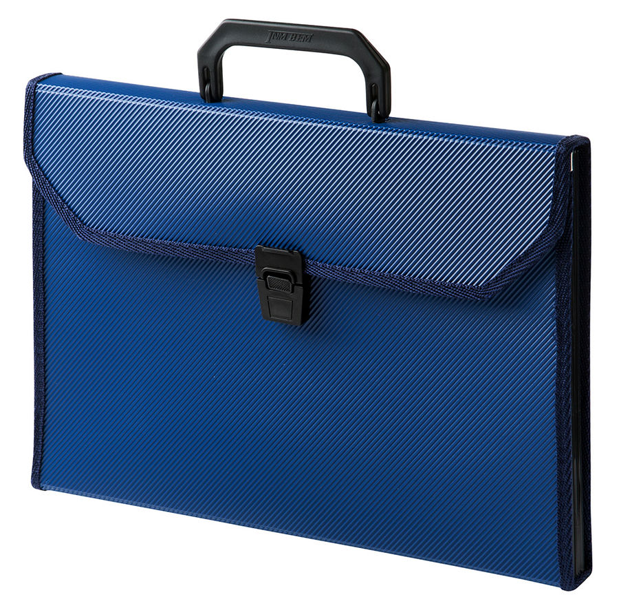 Портфель Бюрократ -BPP13TLBLUE 13 отдел. A4 ребрист. поверхн. с окантовкой пластик 0.7мм синий