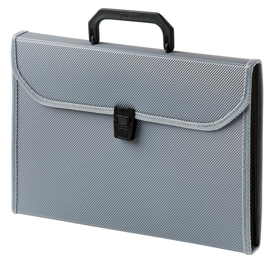 Портфель Бюрократ -BPP13TLGREY 13 отдел. A4 ребрист. поверхн. с окантовкой пластик серый