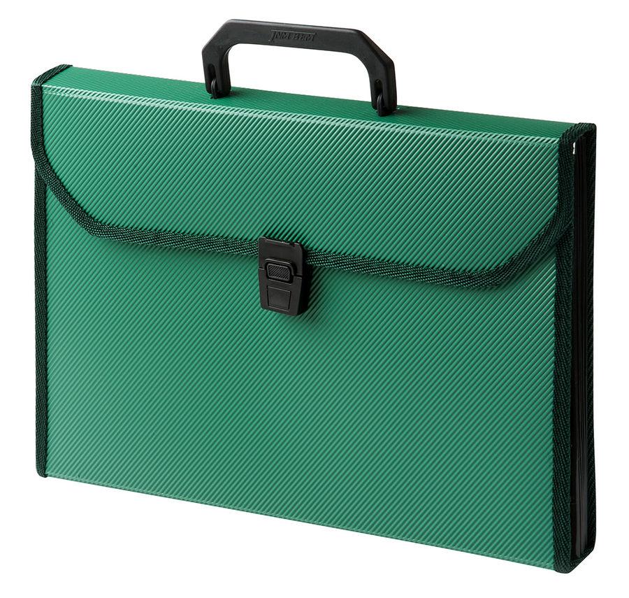 Портфель Бюрократ -BPP13TLGRN 13 отдел. A4 ребрист. поверхн. с окантовкой пластик 0.7мм зеленый