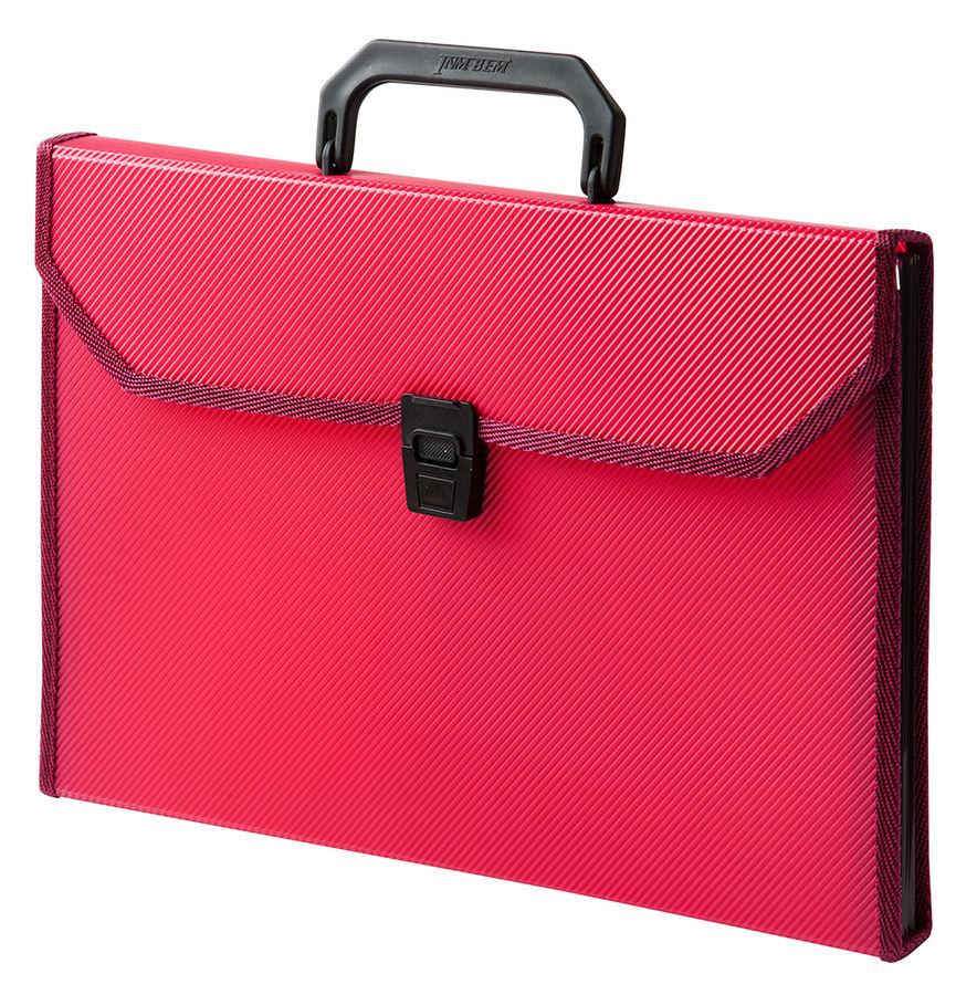 Портфель Бюрократ -BPP13TLRED 13 отдел. A4 ребрист. поверхн. с окантовкой пластик 0.7мм красный