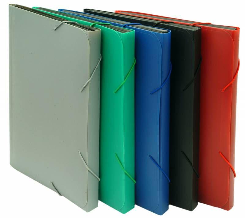 Портфель на резинке Бюрократ -BPR6 6 отдел. A4 пластик 0.7мм ассорти