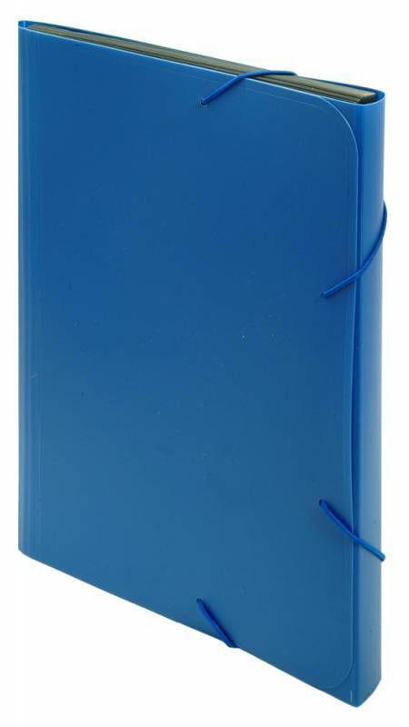 Портфель на резинке Бюрократ -BPR6BLUE 6 отдел. A4 пластик 0.7мм синий