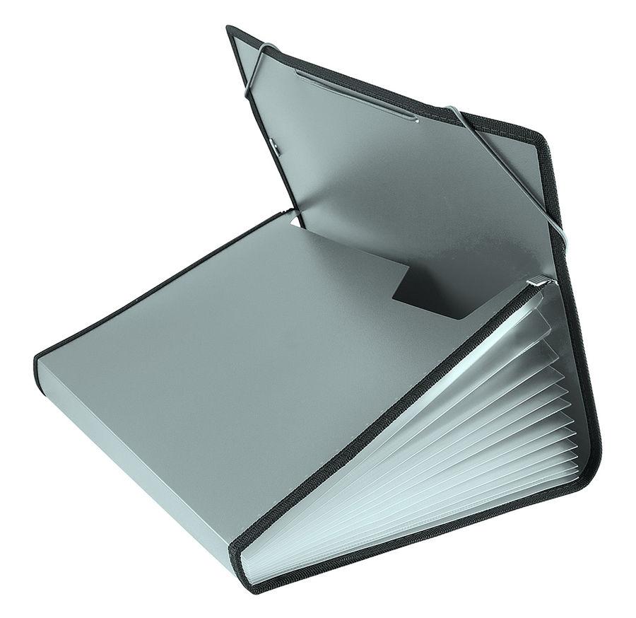 Портфель на резинке Бюрократ -BPR6LGREY 6 отдел. A4 с окантовкой пластик 0.7мм серый