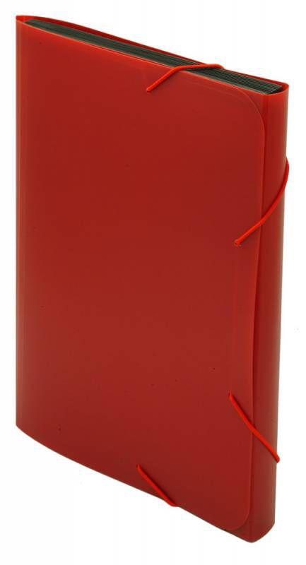 Портфель на резинке Бюрократ -BPR13RED 13 отдел. A4 пластик 0.7мм красный