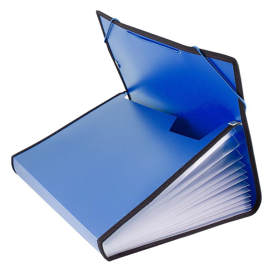 Портфель на резинке Бюрократ -BPR13LBLUE 13 отдел. A4 с окантовкой пластик 0.7мм синий