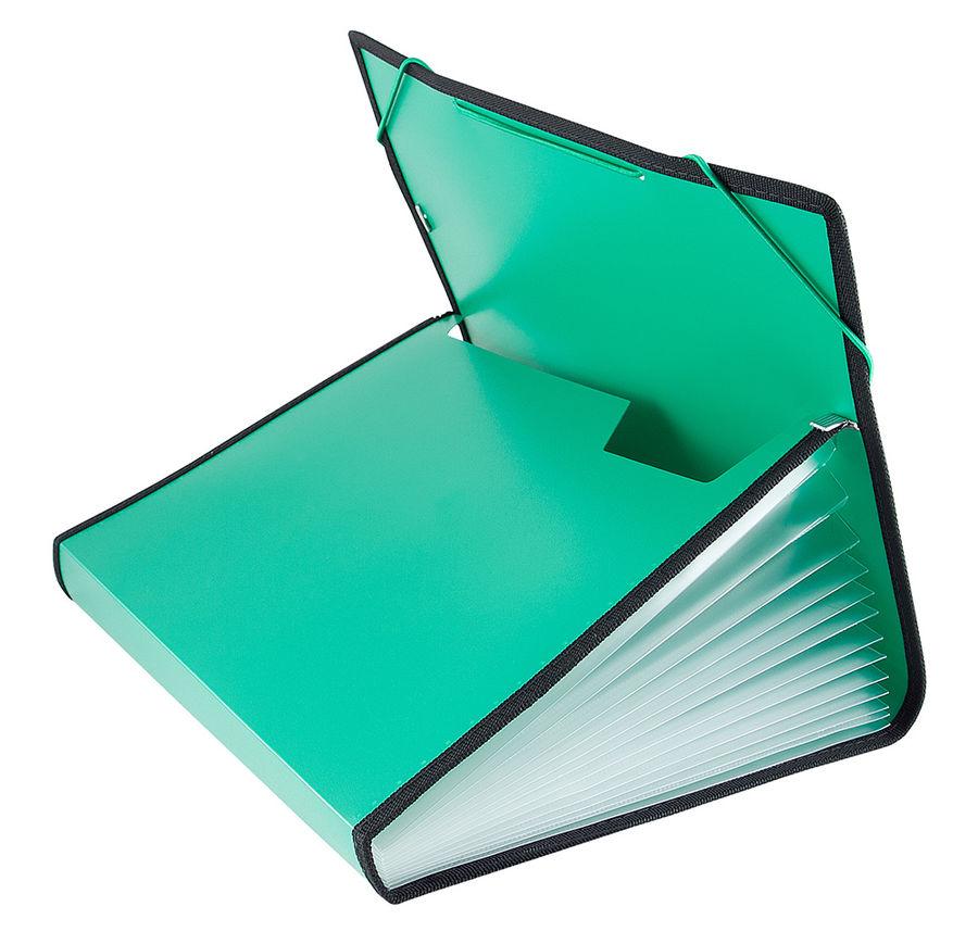 Портфель на резинке Бюрократ -BPR13LGRN 13 отдел. A4 с окантовкой пластик 0.7мм зеленый