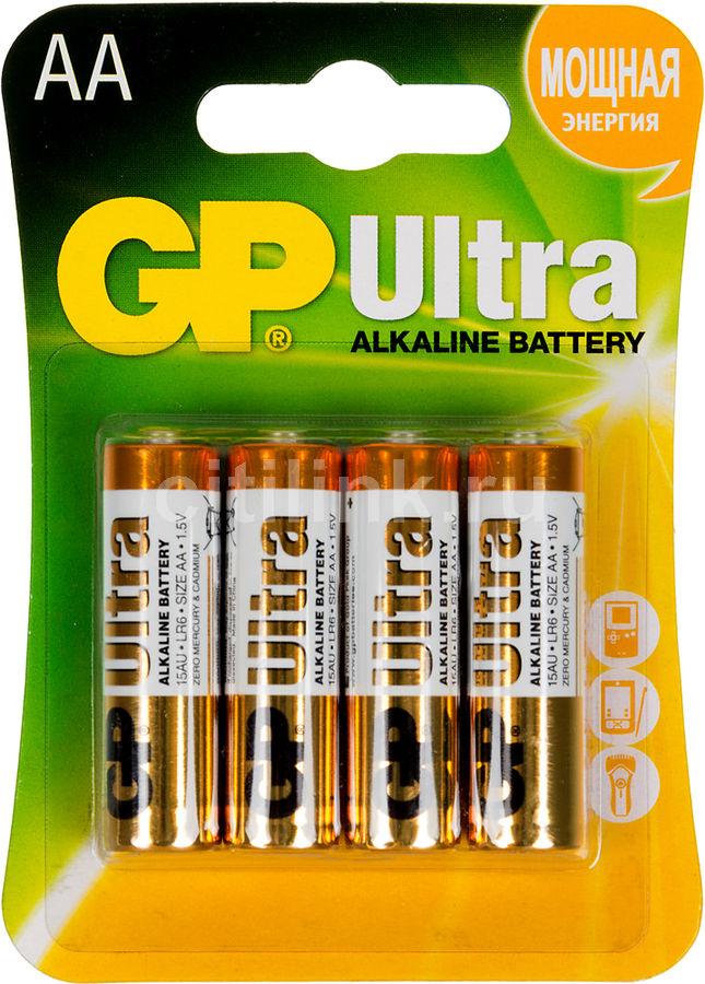 AA Батарейка GP Ultra Alkaline 15AU LR6,  4 шт.