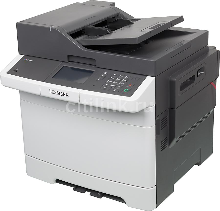 МФУ LEXMARK CX410e,  A4,  цветной,  лазерный,  белый [28d0516]