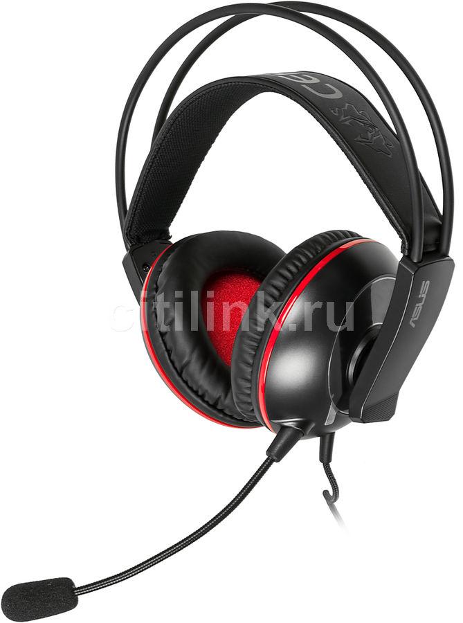 Наушники с микрофоном ASUS Cerberus,  мониторы, черный  / красный [90yh0061-b1ua00]