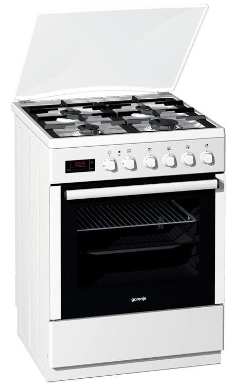Газовая плита GORENJE K65320AW,  электрическая духовка,  белый