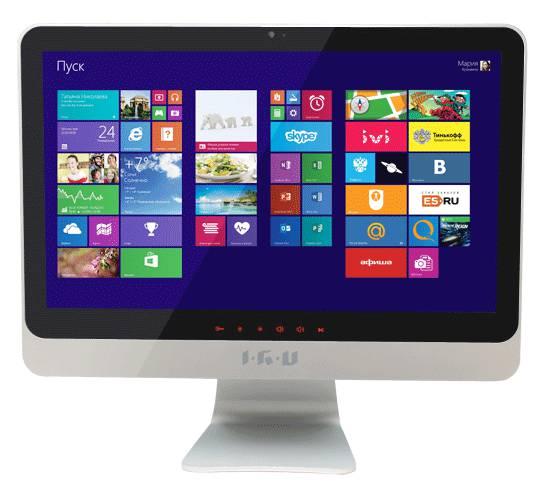 Моноблок IRU 207, Intel Celeron 1005M, 4Гб, 500Гб, Intel HD Graphics, DVD-RW, Windows 7 Professional, черный и серебристый [u200]