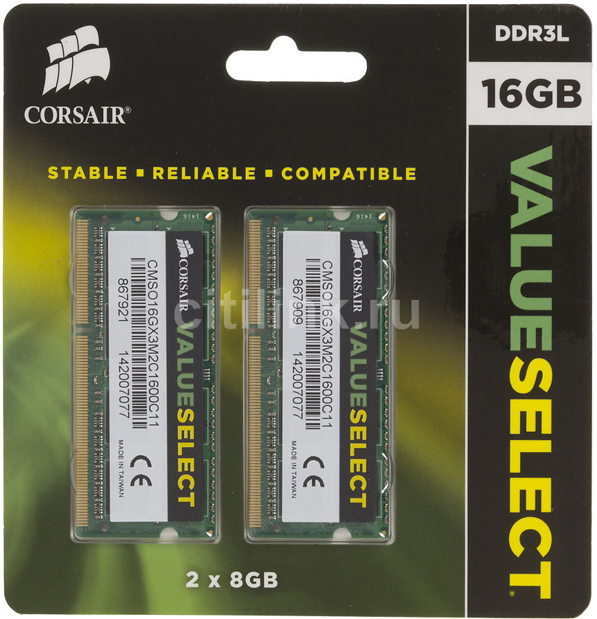 Модуль памяти CORSAIR Value Select CMSO16GX3M2C1600C11 DDR3L -  2x 8Гб 1600, SO-DIMM,  Ret