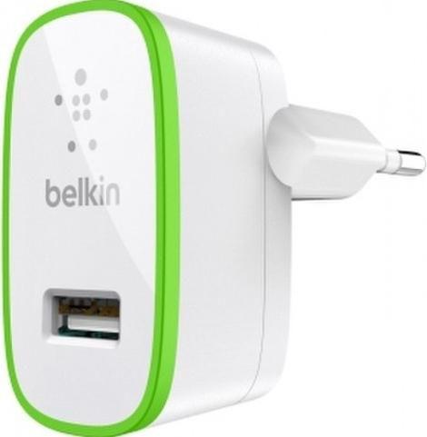 Сетевое зарядное устройство BELKIN F8J052CWWHT,  USB,  2.1A,  белый/зеленый