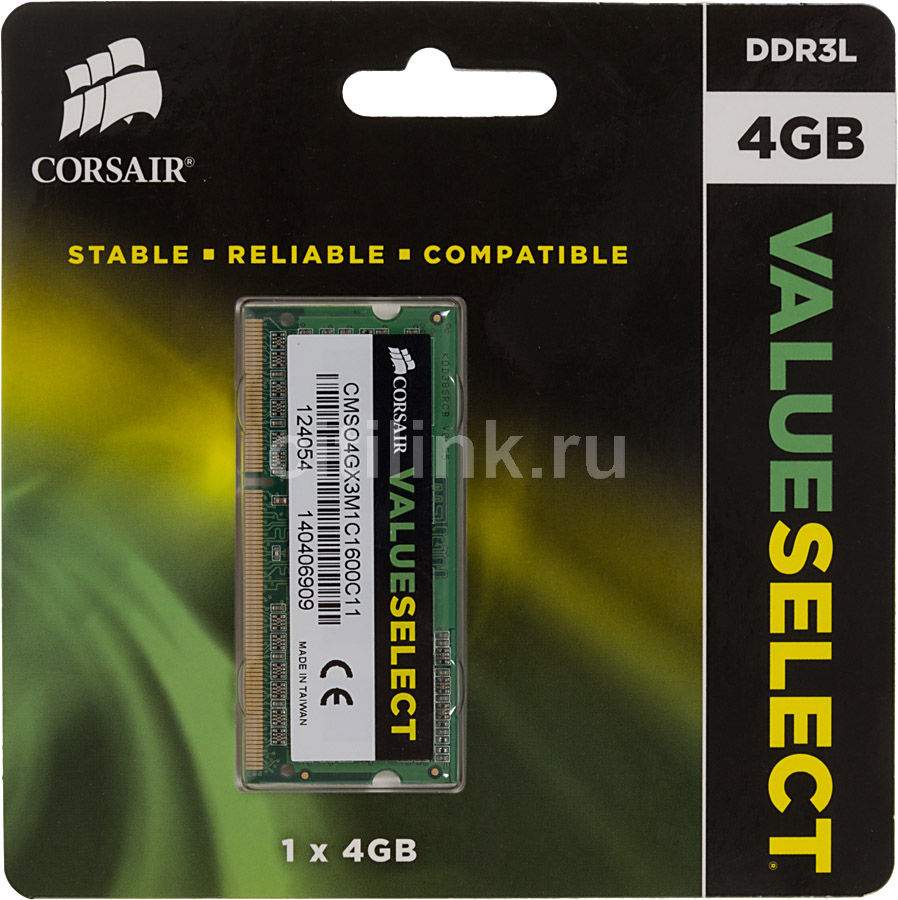 Модуль памяти CORSAIR Value Select CMSO4GX3M1C1600C11 DDR3L - 4Гб 1600, SO-DIMM, RetМодули памяти<br>204-pin; частота: 1600; латентность: CL11; форм-фактор: SO-DIMM;  тип поставки: Ret<br><br>Линейка: Value Select