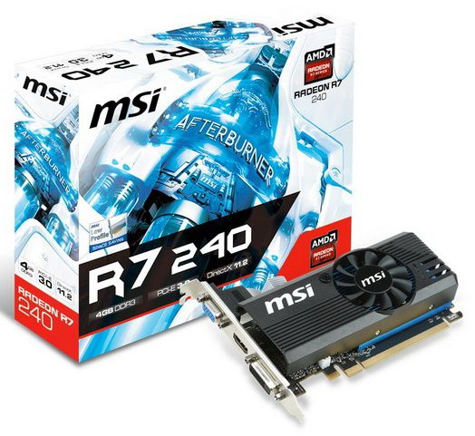 Видеокарта MSI Radeon R7 240,  R7 240 4GD3 LP,  4Гб, DDR3, Low Profile,  Ret