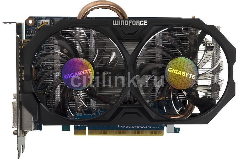 Видеокарта GIGABYTE nVidia  GeForce GTX 750Ti ,  GV-N75TOC-2GI,  2Гб, GDDR5, OC,  Ret