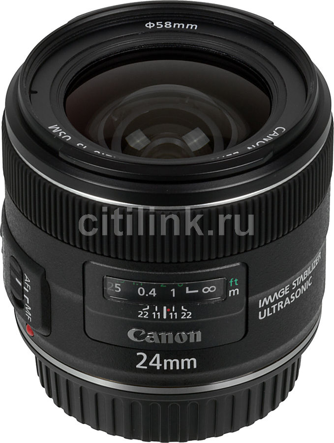 Объектив CANON 24mm f/2.8 EF IS USM, Canon EF, черный [5345b005] canon c exv6
