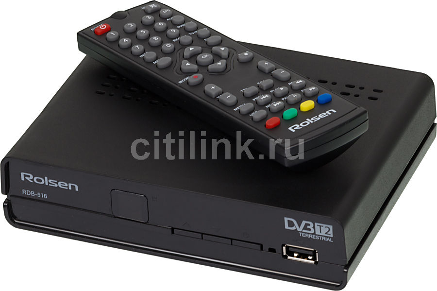 Ресивер DVB-T2 ROLSEN RDB-516,  черный [1-rldb-rdb-516]
