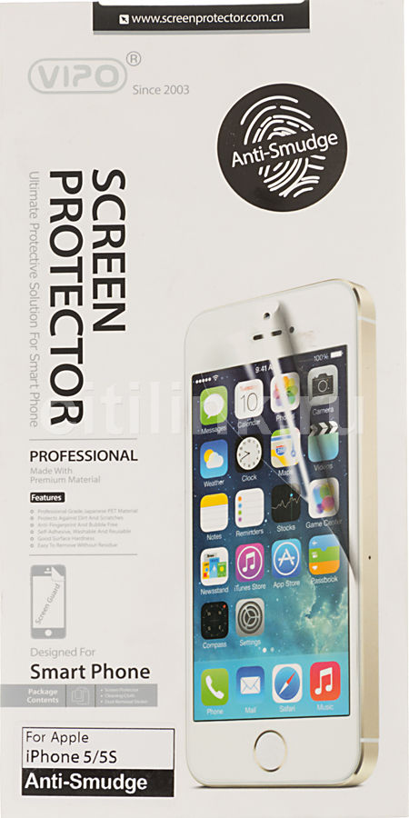 Защитная пленка VIPO для Apple iPhone 5/5s/5c,  прозрачная против отпечатков, 1 шт
