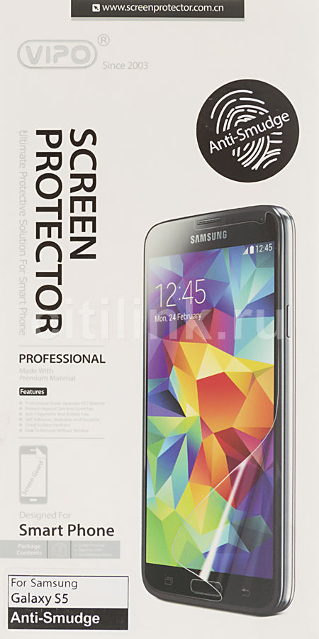 Защитная пленка VIPO anti-smudge  для Samsung Galaxy S5,  прозрачная, 1 шт