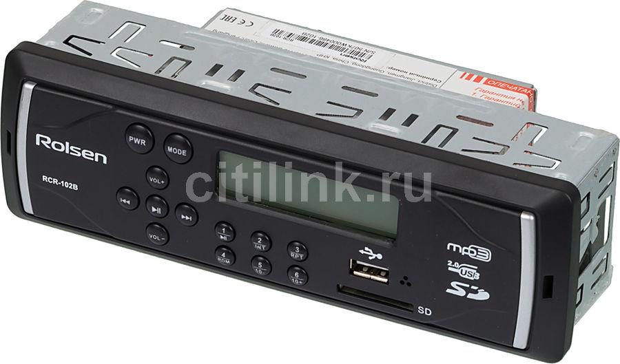 Автомагнитола ROLSEN RCR-102B,  USB,  SD/MMC