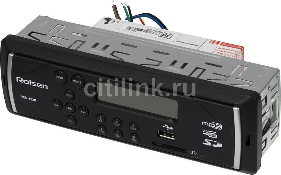 Автомагнитола ROLSEN RCR-102G,  USB,  SD/MMC