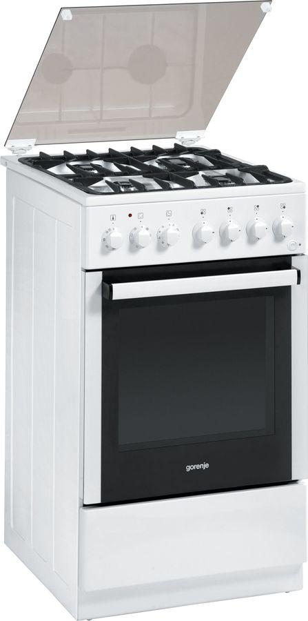 Газовая плита GORENJE K55203AW,  электрическая духовка,  белый