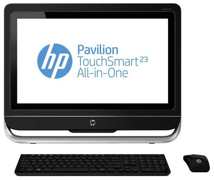 Моноблок HP Pavilion TouchSmart 23-f303er, Intel Core i7 3770S, 8Гб, 2Тб, nVIDIA GeForce 710A - 1024 Мб, DVD-RW, Windows 8, черный и серебристый [d7e60ea]
