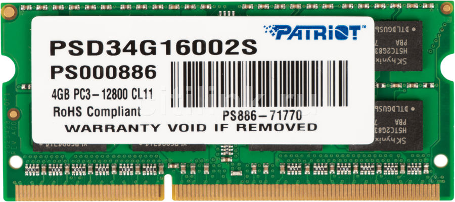 Модуль памяти PATRIOT PSD34G16002S DDR3 -  4Гб 1600, SO-DIMM,  Ret