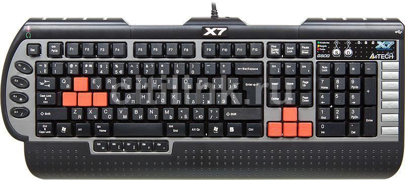 Клавиатура A4 X7-G800MU,  PS/2+USB, c подставкой для запястий, черный серый