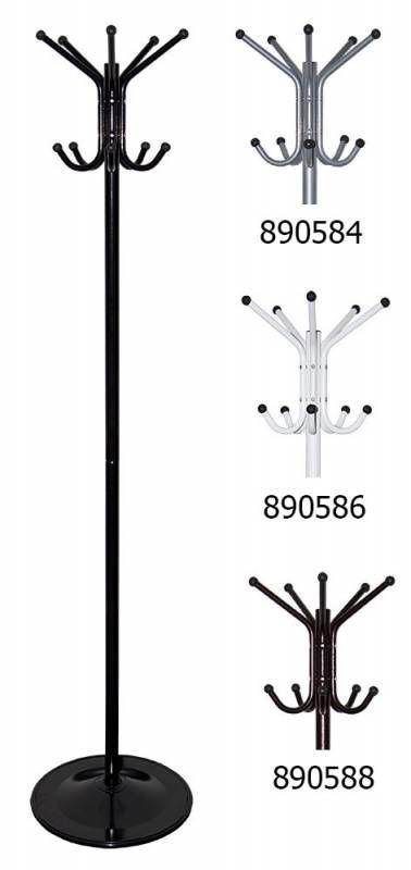 Вешалка напольная Бюрократ CR-001/BLACK черный основание круг наконечники черный крючки двойные