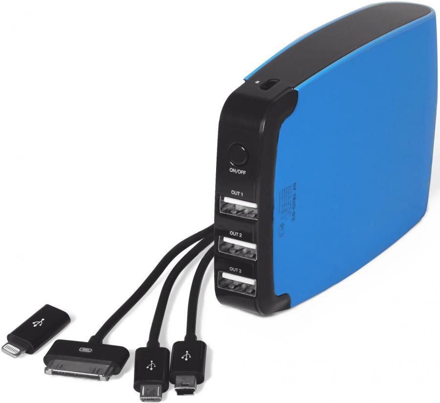 Внешний аккумулятор DF Trio-03,  15000мAч,  синий