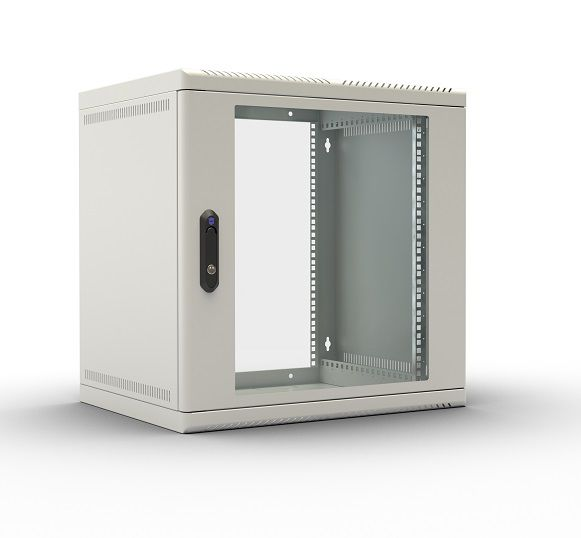 Шкаф настенный ЦМО (ШРН-9.650) 9U 600x650мм пер.дв.стекл несъемные бок.пан. 50кг серый