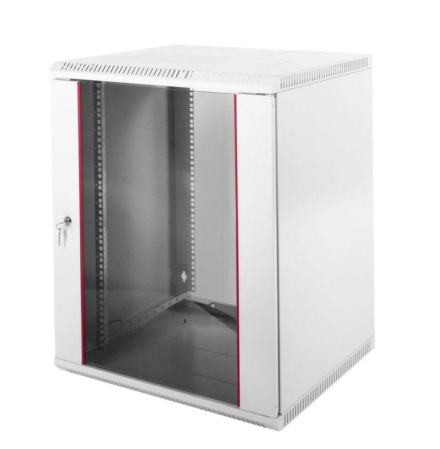 Шкаф настенный ЦМО (ШРН-Э-12.500) 12U 600x520мм пер.дв.стекл несъемные бок.пан. серый