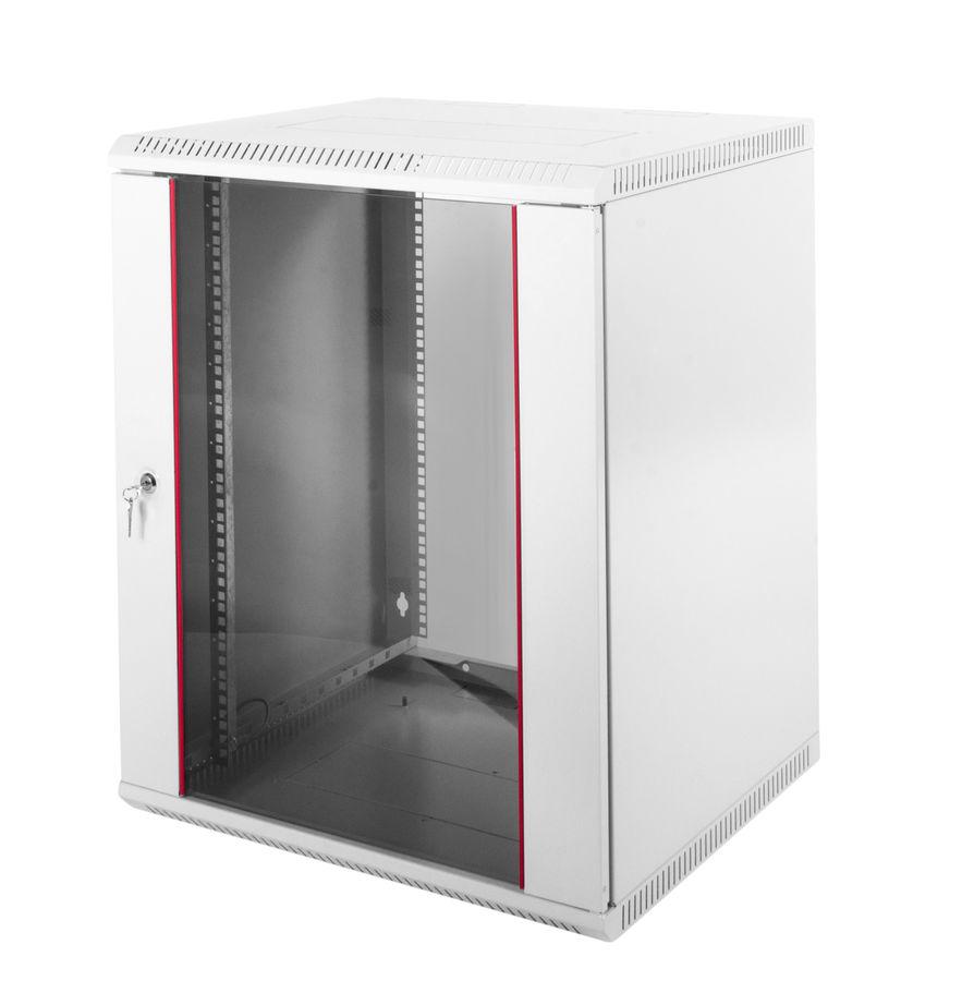 Шкаф коммутационный ЦМО (ШРН-Э-18.500) 18U 600x520мм пер.дв.стекл несъемн.бок.пан. серый