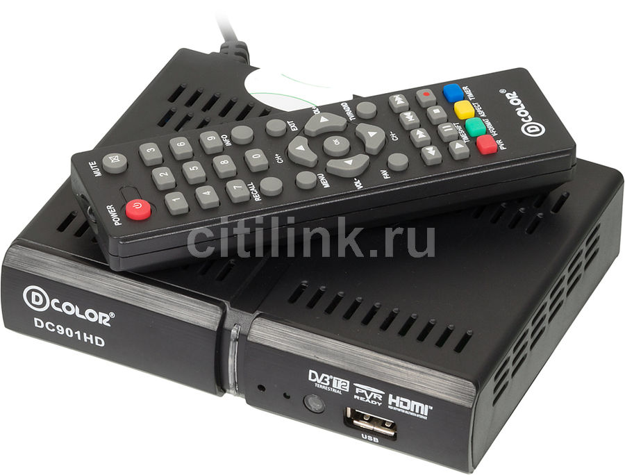 Ресивер DVB-T2 D-COLOR DC901HD, черный телеприставка qhisp iptv dvb t2 mpeg4 hd 40 car dvb t2