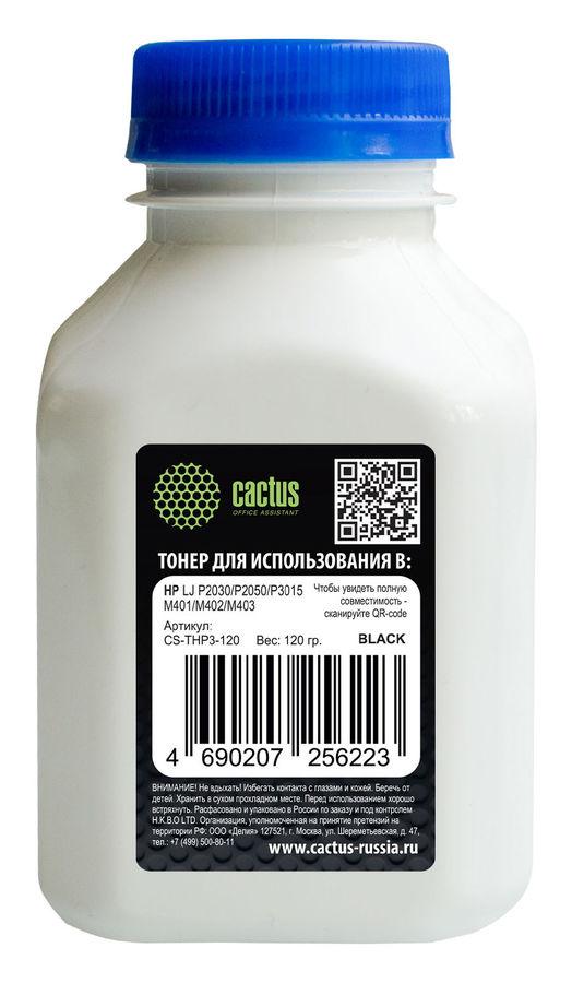 Тонер CACTUS CS-THP3-120,  для HP LJ P2014/P2015/2030/2050/3005,  черный, 120грамм, флакон