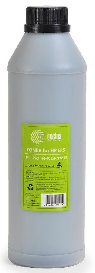 Тонер CACTUS CS-THP5-1000,  для HP LJ P4014/P4015N/P4515,  черный, 1000грамм, флакон