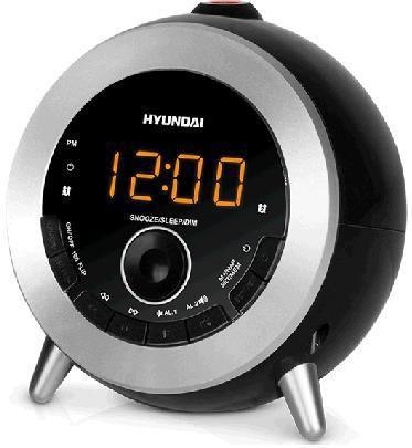 Радиобудильник HYUNDAI H-1552, оранжевая подсветка,  черный