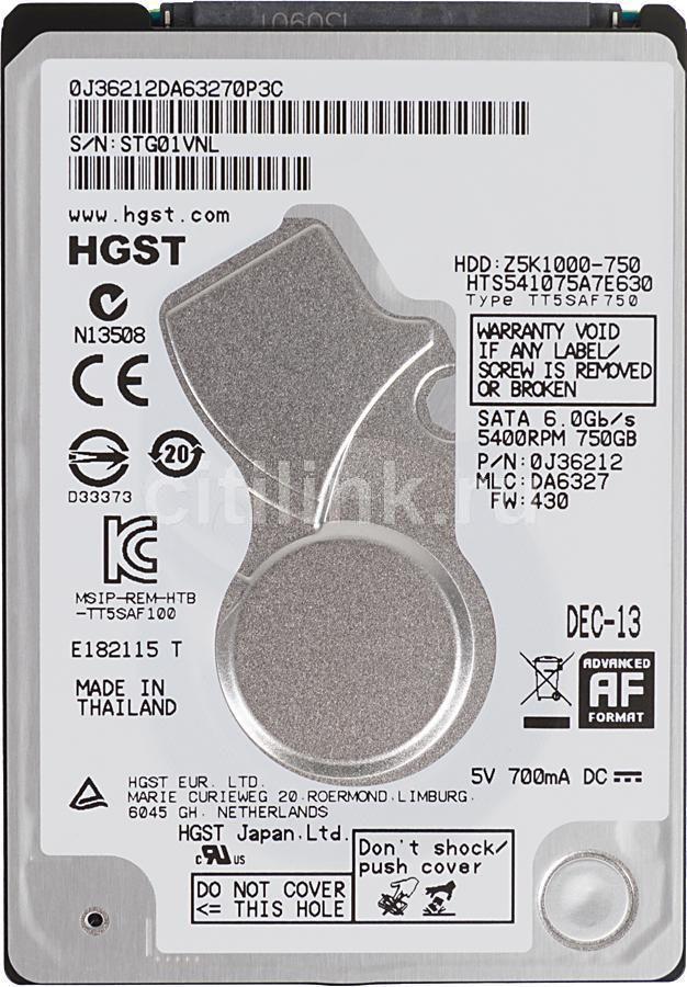 Жесткий диск HITACHI HTS541075A7E630,  750Гб,  HDD,  SATA III,  2.5