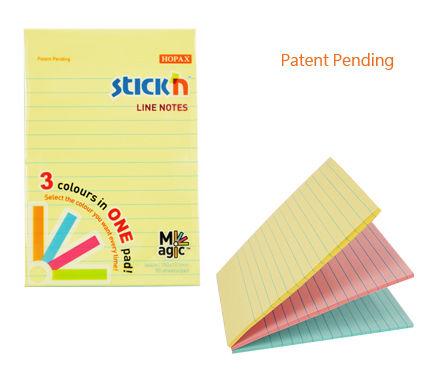 Блок самоклеящийся бумажный Stick`n Magic 21579 101x150мм 90лист. 70г/м2 пастель 3цв.в упак. в линей